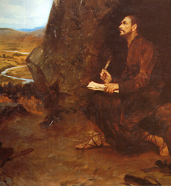 Ignatius writing the Spiritual Exercises at Manresa