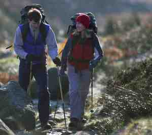 Hikers with walking poles