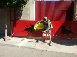 Fr Paddy Mugavin ready for the  bull run in Cabanas de Ebro,  but one day late