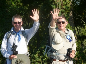 Michael Bertie and Michael Smith celebrate reaching the 500 km mark
