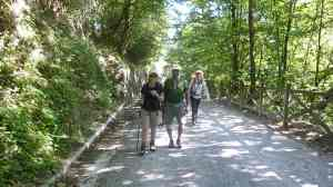 Helen, Sacha and Tracy on the trail