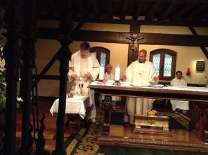 Sacha Bermudez-Goldman says Mass for us in the room where Inigo experienced his conversion