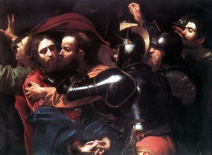 Caravaggio's depiction of Judas betraying Jesus with a kiss
