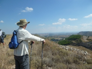Fr Joe Taylor views Fraga from the top of the ridge
