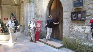 Helen Lucas on the Doorstep of Loyola Castle about to begin the Ignatian Camino