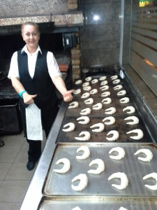 Preparing croissants in the evening for our breakfast tomorrow