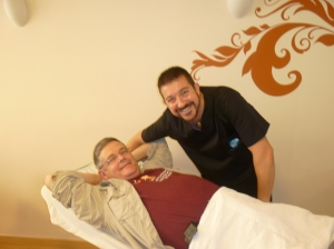 Rafael the physiotherapist and his grateful patient