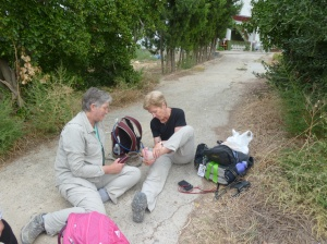 Sandra helps Helen with her blisters
