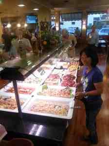 Chona Walden partaking of the buffet