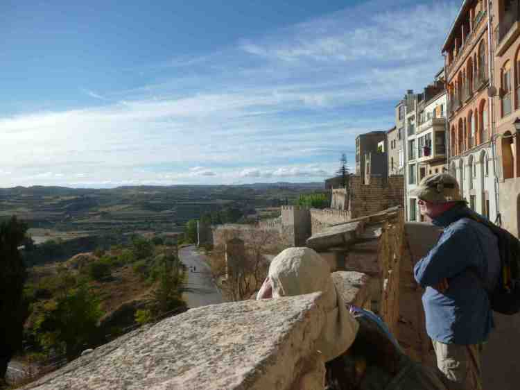 Tracy and Vin looking down from the battlements of Cervera