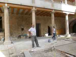 Workmen restoring the interior of the castle