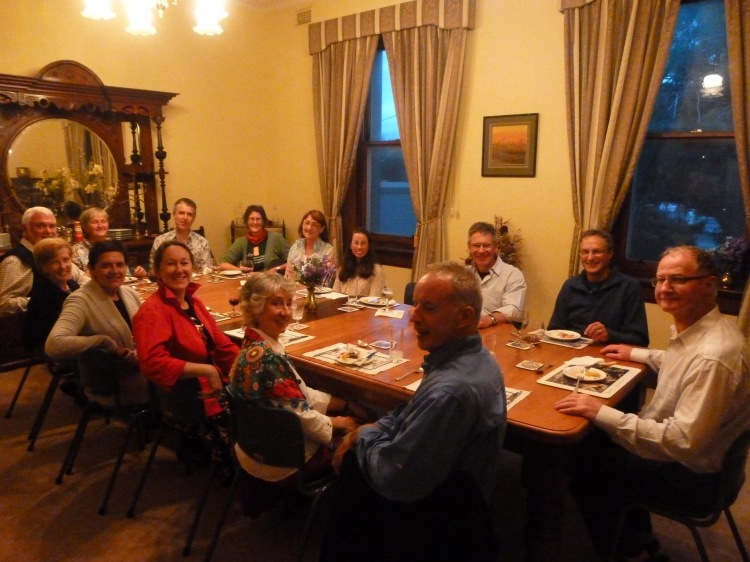 The pilgrims in the dining room at the presbytery at St Joseph's Warrnambool