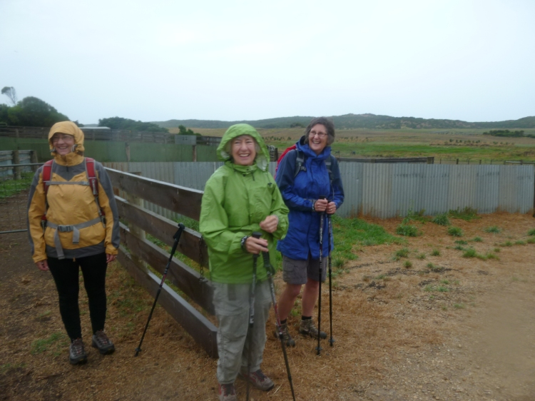 Geraldine Naismith, Kay Quisenberry and Jan Fitzpatrick were joyous even though it was raining