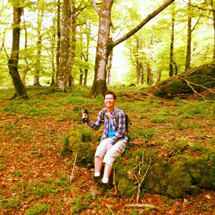 Sarah Davies having a rest on the Ignatian Camino
