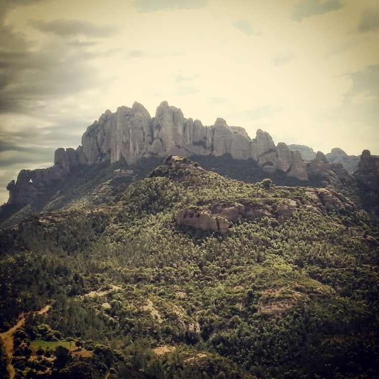 A view of Montserrat (the serrated mountains)
