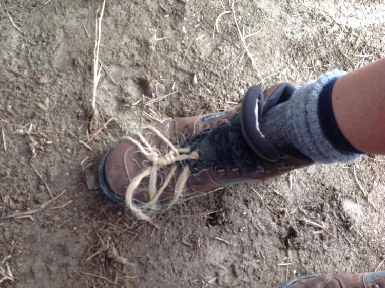 Fr Iriberri's handiwork on Sarah's boot on the last leg just before Manresa.