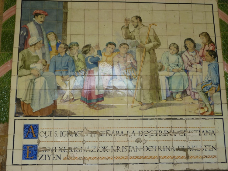 Fresco showing Saint Ignatius teaching catechism to children