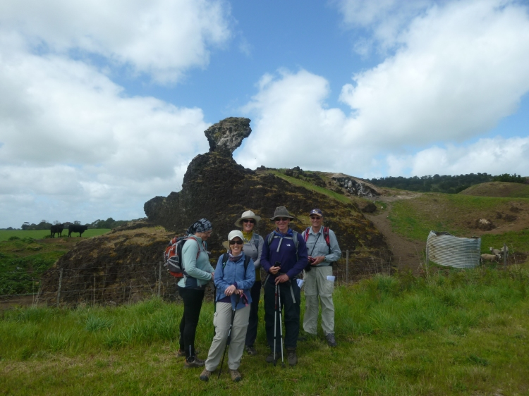 Geraldine, Helen, Jan, Michael and Larry posing beside a volcanic plug