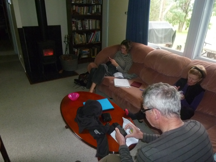 Jan, Helen and Michael relaxing in front of the fire after today's walk