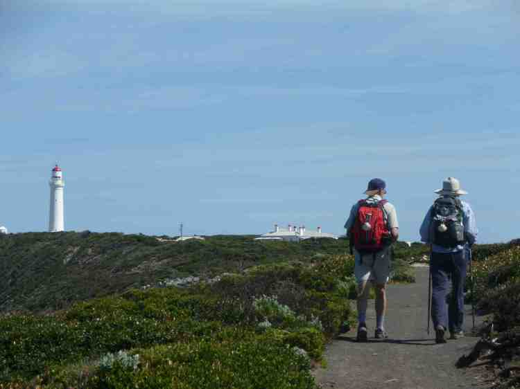 Larry and Jan walking towards the Cape Nelson lighthouse where we had lunch