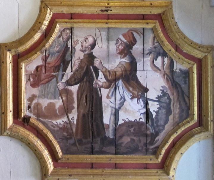 As Ignatius is expelled from the Holy Land, Christ appears to him (The Sacristy, Iglesia de San Pedro, Lima,Peru)