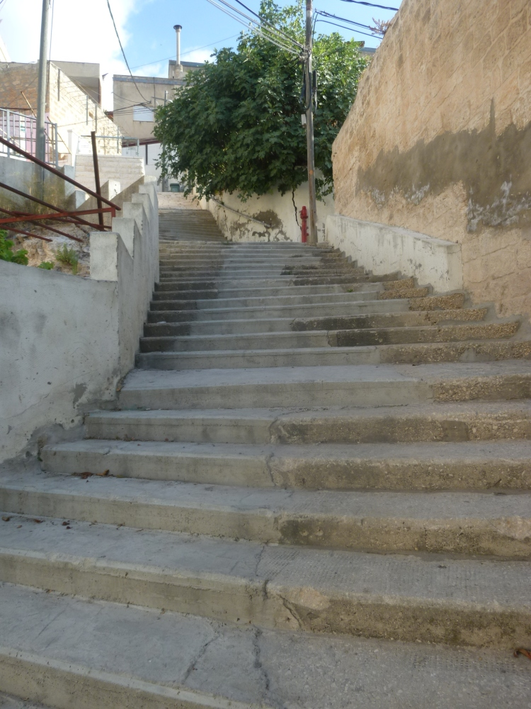 Some of the 406 steps up out of the Old City of Nazareth