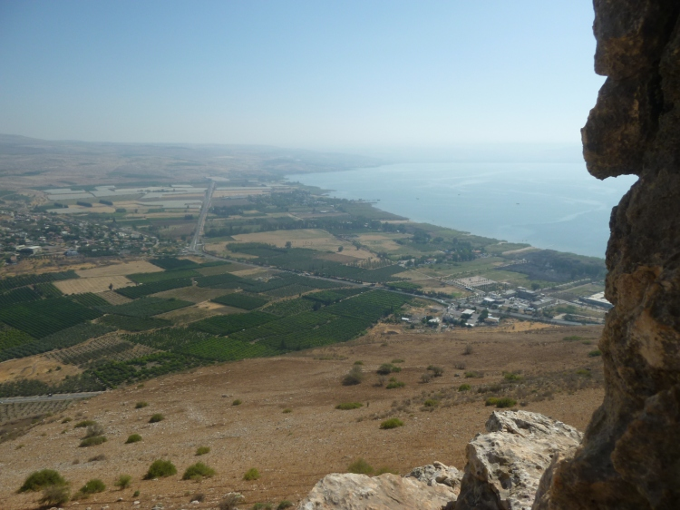 The view from inside a cave on the way down Mount Arbel