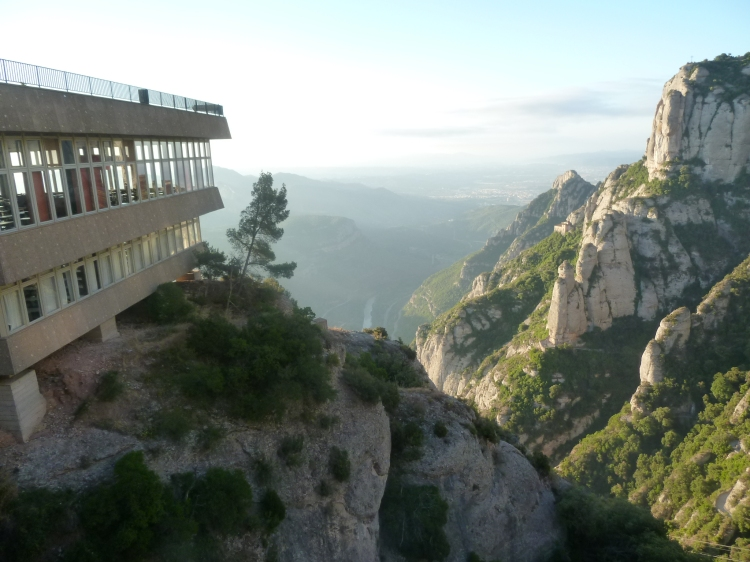 A restaurant perched on the mountain side at Montserrat