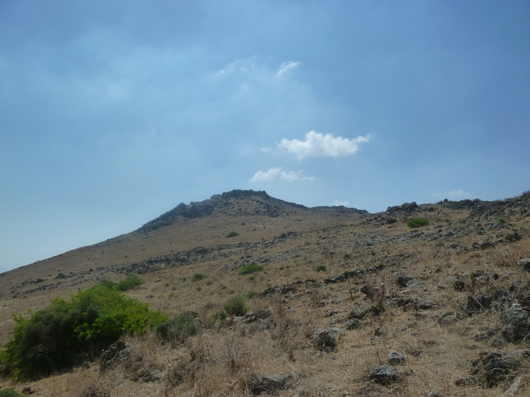 Looking back at the Horns of Hattin where I have just descended
