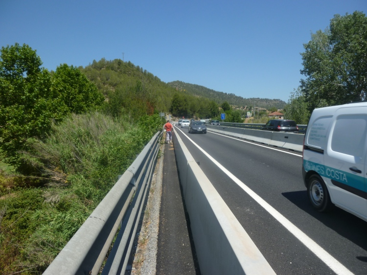 One of the hazards of the Ignatian Camino is speeding traffic —now pilgirms are protected somewhat by concrete blocks