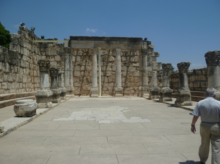 The ruins of an ancient synagogue at Capernaum