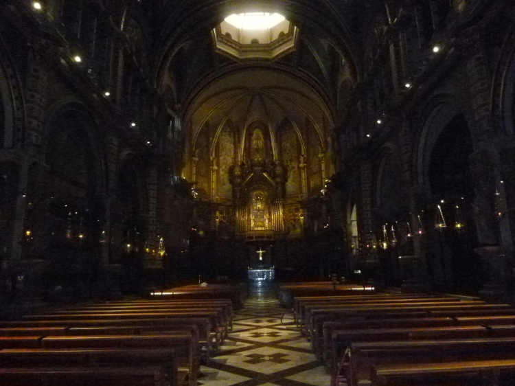 The interior of the Basilica at Montserrat