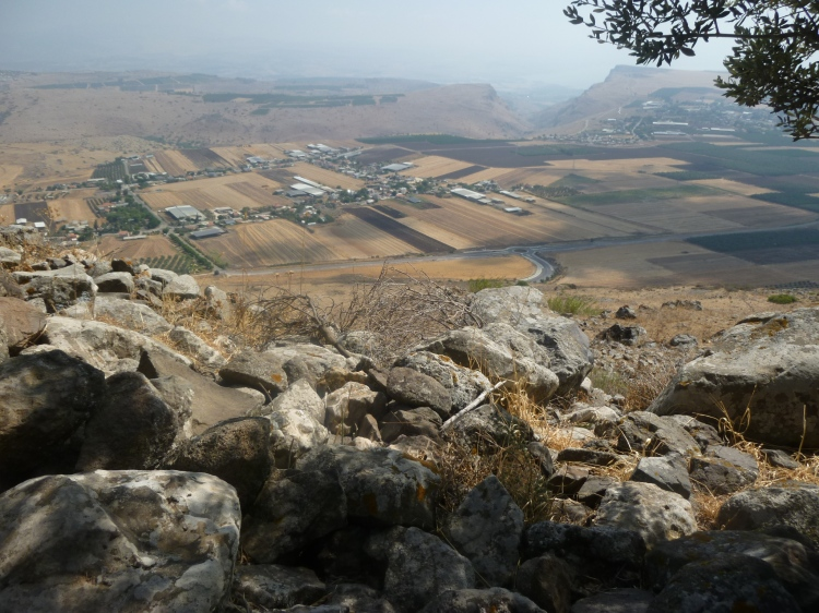 The Sea of Galilee can be seen from the Horns of Hattin