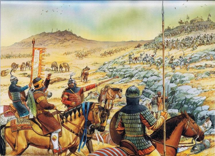 The forces of Saladin and the Crusaders do battle under the Horns of Hattin